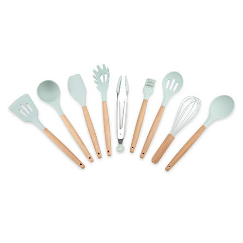 Alinory Ustensiles de cuisine, 9PCS/Set Silicone Ustensiles de Cuisine Ustensiles De Cuisine Bleu Cuisine Outil