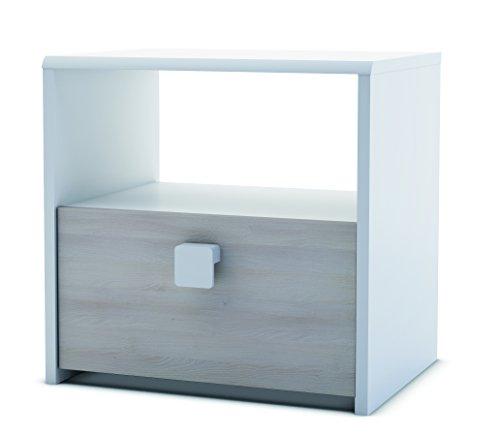 13casa - easy a6 - comodino. dim: 33x42x43 h cm. col: bianco, acacia. mat: mdf.