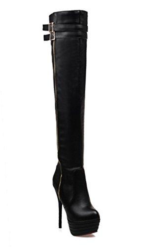 4ac706146 YE Damen High Heels Plateau Overknee Stiefel mit Rote Sohle Stiletto  Schnallen Kniehoch Boots Schwarz