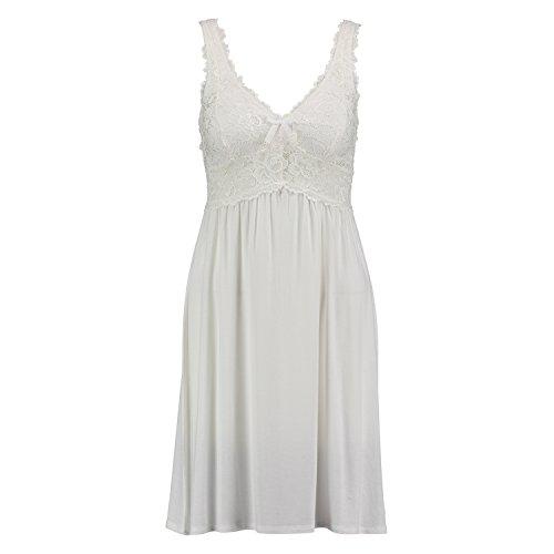 Hunkemöller Damen Slipdress Modal Lace 96311 Weiß 2XL