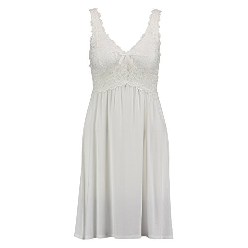 Hunkemöller Damen Slipdress Modal Lace 96311 Weiß M