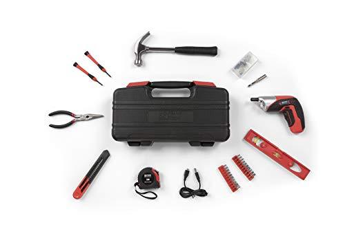 WOLFGANG 73 Teile Werkzeugkoffer mit Akkuschrauber 3,6 V und Bit Set, Hammer, Zange, Wasserwaage etc, Werkzeugkasten als Grundausstattung für Haushalt, Auto, Werkstatt