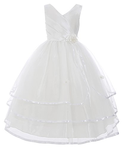 GRACE KARIN Maedchen Kleid Elfenbein Blume Hochzeit Prinzessin Einzigartig Bogen 8-9 Jahre CL8937-1 (Blumen-mädchen-kleid-elfenbein)