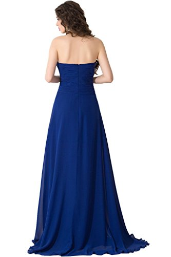 Sunvary Suess Neu Herzform Chiffon Steine Lang Hi-Lo Abendkleid Ballkleid Blau