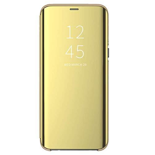 Funda para Xiaomi Mi 8 Lite Suave + Duro Carcasa Espejo Mirror Flip Caso Ultra Delgada Shock Caja del Teléfono Translucent Window View (Dorado, Xiaomi Mi 8 Lite)