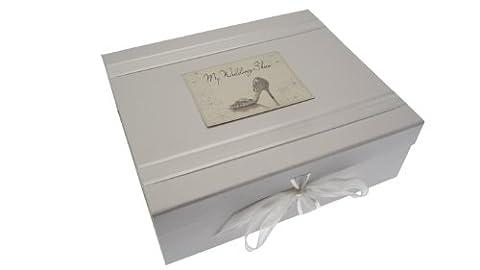 White Cotton Cards Boîte à souvenir de mariage Motif chaussure de mariage Inscription My Wedding Box