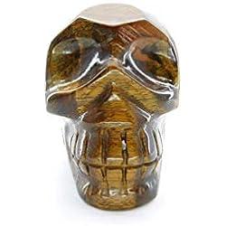 Calavera tallada en ojo de tigre, belleza energética, meditacion, 6,5x8 cm