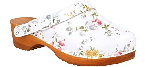Zoccoli di legno in vera pelle da donna clogs legno calzature scarpe ospedale (38 eu, bianco 872)