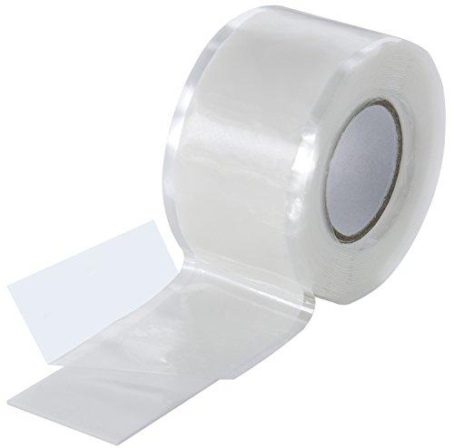 Poppstar - Nastro in silicone 1x 3m autoagglomerante, fascia in silicone per riparazione nastro, nastro isolante e nastro di tenuta (acqua, aria), largo 25 mm, bianco