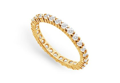 One Carat CZ Eternity Wedding Bands Prong Set in 18K Yellow Gold Vermeil Silver
