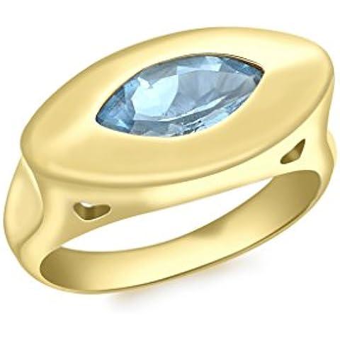 9ct oro giallo topazio blu, taglio Marquise Anello