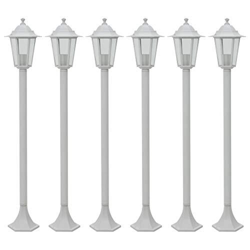 vidaXL 6x Pollerleuchte Weiß Gartenleuchte Standleuchte Außenleuchte Lampe