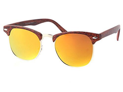 Sonnenbrille Clubmaster Holzmuster bunt verspiegelt 400UV Metall orange