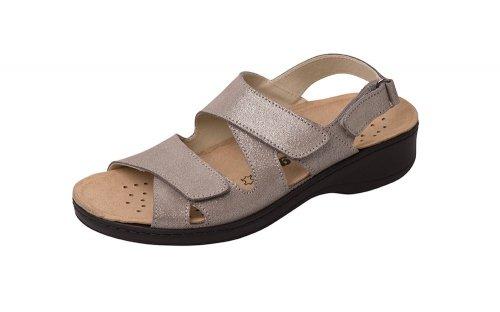sandali ortopedici con ESTRAIBILE PLANTARE Grigio metallizzato