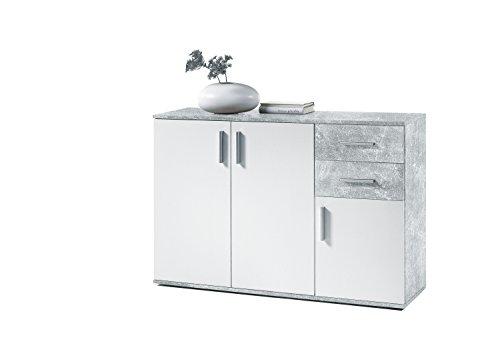 Avanti trendstore - bea - comó con 3 ante e 2 cassetti in laminato di cemento d'imitazione e colore bianco, dimensioni: lap 120x82x35 cm