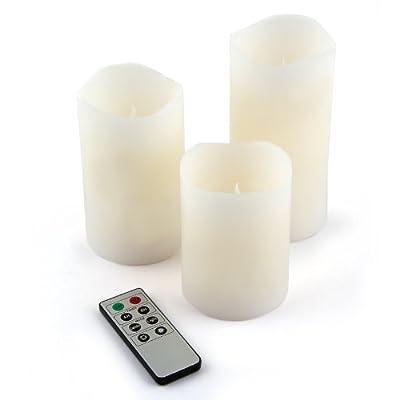 Relaxdays 3er Set flammenlose LED Kerzen mit Wachsmantel + Fernbedienung batteriebetrieben Flacker-Licht und Timer-Funktion von Relaxdays - Lampenhans.de