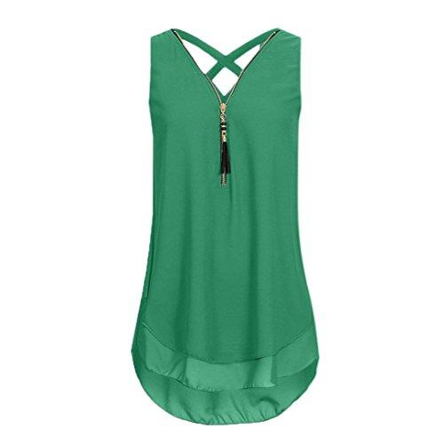 ZIYOU Damen Ärmellose Chiffon Bluse, Frauen Sommer Elegant Weste Top Hemdbluse Unregelmäßigkeit Casual Unterhemd Shirts (Armeegrün, EU-44/CN-XL) - Chiffon-hemd