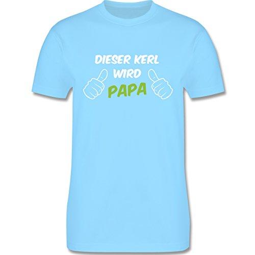 Shirtracer Vatertag - Dieser Kerl Wird Papa - Herren T-Shirt Rundhals Hellblau