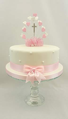 The Cake Emporium Ltd Kuchen Dekoration Herz Burst Pink-Erstkommunion, mit Kreuz Tortenaufsatz (Kommunion 1. Kuchen Dekorationen)