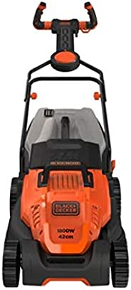 Black+Decker 1800W 42cm Easy Steer Lawn Mower for Lawn & Garden, Orange/Black - BEMW481ES-GB, 2 Years Warr