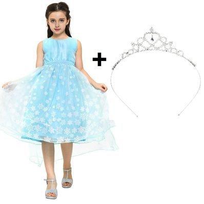 (Katara 1842-060 Eiskönigin Eisprinzessin Königin ELSA Mädchen Ball Festkleid, Prinzessinen Kleid mit Schneeflocken + Diadem, 134/140 (Etikett 150))
