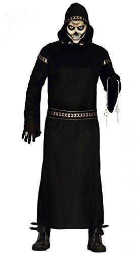 Schwarzer Mann Halloween-Kostüm für Herren Gr. M/L Dämon Tod Grim Reaper Horror (Kostüm Reaper Dark)