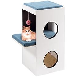 Feplast 74057021 Mueble de Madera para Gatos Blanco, con Casita y Área Rascadora de Sisal, 40 x 55 x 80 Cm