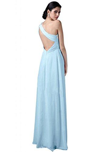 Sunvary elegante Chiffon Una spalla Sweetheart vestito da damigella d'onore abito da sera Luce del cielo azzurro