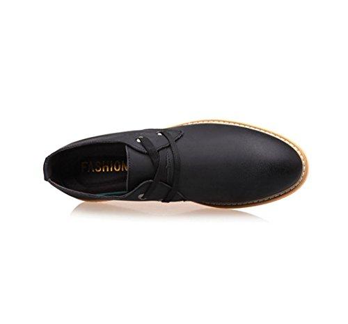 HYLM I pattini di cuoio dei pattini di ricreazione dei nuovi uomini calza i pattini di cuoio genuini di modo della pelle bovina Black