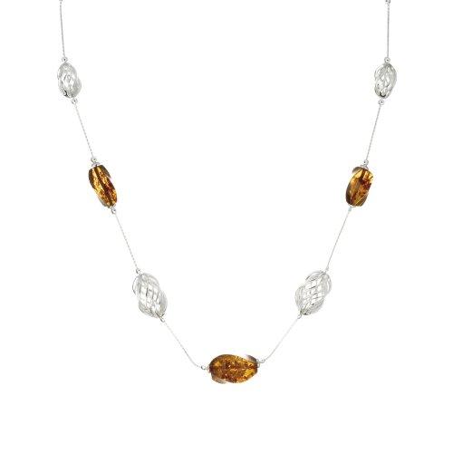 Nature d'Ambre 3170623 Damen-Halskette Silber 925/1000 Bernstein, 50 cm