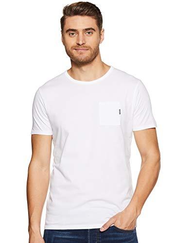 Scotch & Soda Herren T-Shirt AMS Blauw 1 Pocket Tee in Colours with XXX Embro 147612, Gr. Small (Herstellergröße: S), Weiß (White 00) -