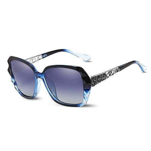 LumiSyne Sonnenbrille Damen Verspiegelt Verlaufsglas Polarisierte UV Schutz,Groß Polycarbonat Gläser Diamant Schneiden strasssteine verziert Rahmen,Draußen Reise Geschenkbox(Blau)