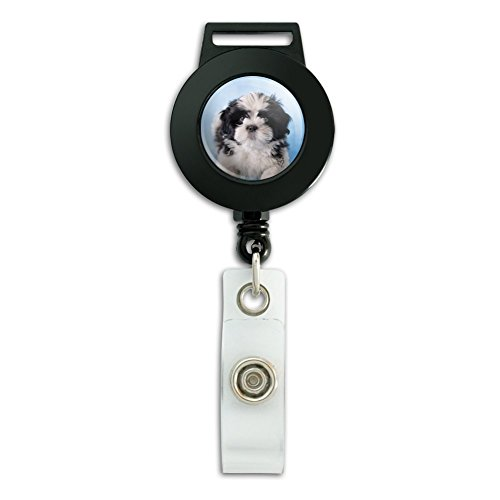 Shih Tzu Hund schwarz weiß auf blau Lanyard Retractable Reel Badge ID Kartenhalter