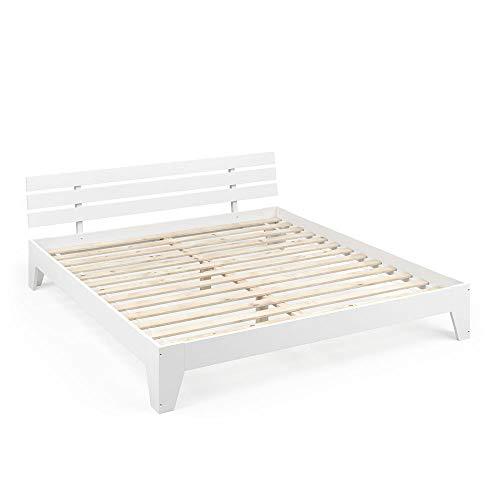 Vicco Holzbett Tilos Futonbett 180x200cm Kiefer Doppelbett Bett Massivholz Lack (Weiß)