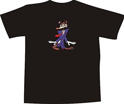 T-Shirt E501 Schönes T-Shirt mit farbigem Brustaufdruck Farbe nach Wahl XXL - Logo / Grafik - Comic Design - Business Wolf mit Krawatte (T-shir Wolf)