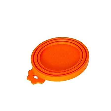 Fliyeong Silikon-Dosen-Deckel Universal-Silikon-Tierfutter-Lagerung kann Deckel, passt Hund und Katze kann Oben (orange Top