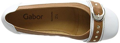 Gabor Shoes Fashion, Ballerine Donna Bianco (weiss/cognac 24)