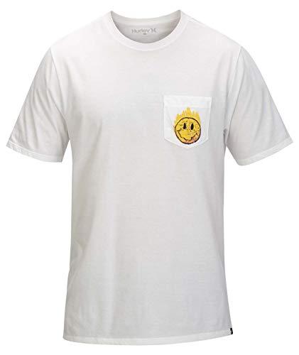 Hurley Herren M Hot Smiles Pocket Tee T-Shirt M weiß - Pocket Hurley-t-shirt
