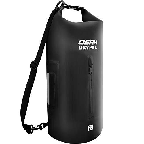 OSAH DRYPAK Dry Bag Wasserdichter Packsack 5L 10L 15L 20L 30L wasserdichte Tasche Sack Beutel Lang Schulter Verstellbarer Schultergurt für Kajak Boot Angeln Rafting Schwimmen Wassersport Treiben (Schnee-sport-tasche)