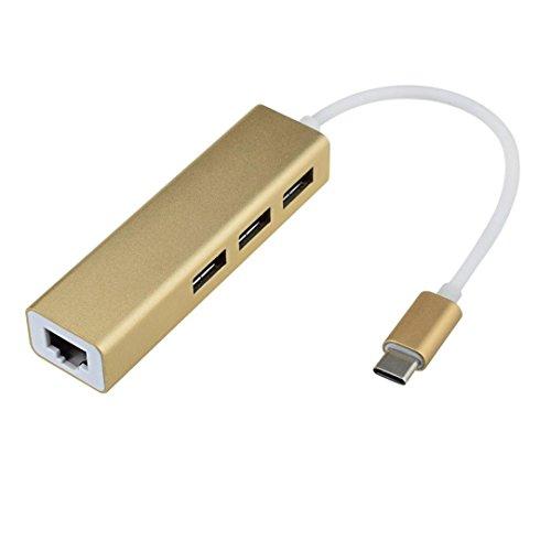 12shage 1X USB 3.1 Typ-C Netzwerkadapter mit 3 Port USB 3.0 Hub (Gold)