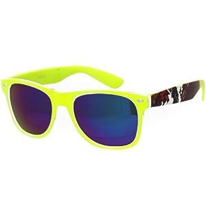 Oramics ® occhiali neri da sole Wayfarer retro della nullità chiaro e nero (pattern1 Neon Verde)