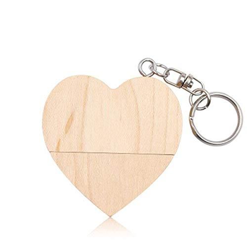 Heart Shaped Usb (LAY Mini Heart-Shaped U-Scheibe 128G U-Scheibe aus Holz Heart-Shaped Schlüsselbund, USB 2.0 Pen Drive Memory Stick Externer Speicher Liebesgeschenk,A)