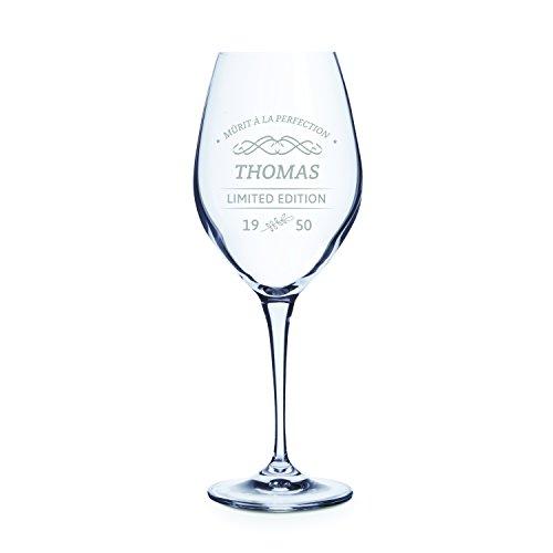 Personello® Verre à vin Blanc avec Gravure (Motif édition limitée), Verre à vin gravé avec nom, Date et Dictons (personnalisé), Cadeau d'anniversaire, idée de Cadeau pour buveurs de vin (vin Blanc)