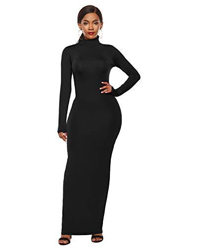 QUNLIANYI Kleid Spitze Plus Größe Elegante Langarm Solid Bodycon Maxi Kleid Herbst Hohe Kragen Frauen Kleid S-5Xl 5XL Schwarz