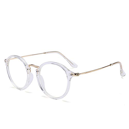Yangjing-hl Europa und die Vereinigten Staaten Retro Metall runden Rahmen Flachspiegel ultraleichten Anti-blauen literarischen Myopie Brillengestell weiße Box