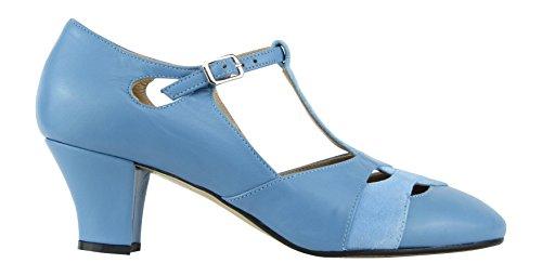 Rumpf Premium Line 9233 Damen Swing Lindy Hop Balboa Tanz Schuhe Leder Absatz 5 cm, Blau, 38 EU