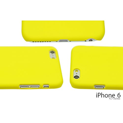 OBiDi - Ultra Thin Solid Color Oil Coated Hard Case / Housse pour Apple iPhone 6 / 6S (4.7 inch)Smartphone - Jaune avec 3 Film de Protection Bleu Clair