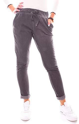 Damen Vintage Sweat Jersey Sport Relax Hose Sweatpants Jogginghose  Joggpants Jogger Lang Baumwolle Einfarbig Dunkelgrau XS - 34 (S) 92f19cc7bb