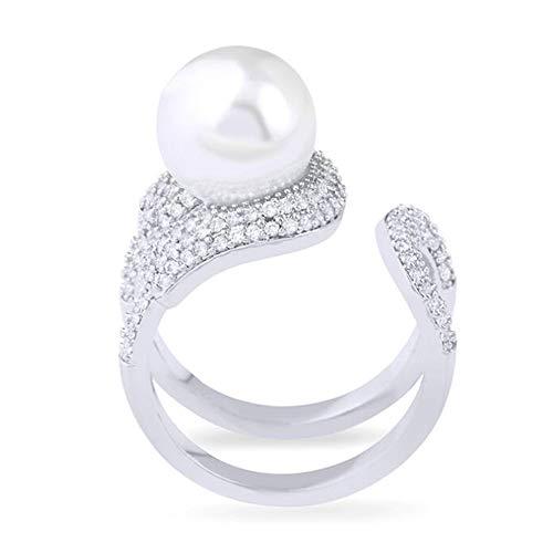 WHX DamenRingeEdelstahl,Offener Perlenring aus 18 Karat Gold mit Diamant-Doppelschicht-Ringschmuck für alle Gelegenheite