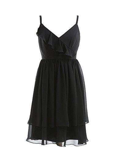 Dresstells, bretelles spaghetti robe courte de demoiselle d'honneur/cocktail, robe courte d'été en mousseline Jaune